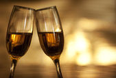Bokeh background with champagne glasses — Stockfoto