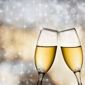 Bokeh background with champagne glasses — Stock Photo