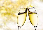 Bokeh achtergrond met champagneglazen — Stockfoto