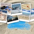 A collage of pictures of many beach items and scenes — Stock Photo #18526013