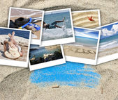 A collage of pictures of many beach items and scenes — Stock Photo