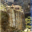 Vintage photo of Meteora monasteries, Greece - ストック写真