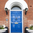 Typical English town house door — Stock Photo