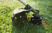 Mowing a lawn with a lawn mower — Stock Photo