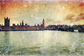 Vintage postcard of Parliament with Big Ben at dusk — Stock Photo