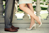 Couple legs kissing — Stock Photo