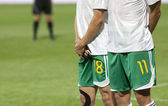 Soccer players prepared to defend free kick — Stock Photo