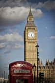 Red phone box against Big Ben — Stock Photo