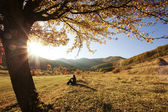Colorful autumn tree at sunset with woman sitting and contemplating nature — Stock Photo