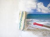 Hand painting beautiful sunny tropical beach — Stock Photo