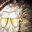 Stock Photo: Vintage background with champagne glasses and clock