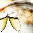 Vintage background with champagne glasses and clock — Stock Photo #32074257
