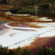 Stock Photo: Water pollution of copper mine exploitation