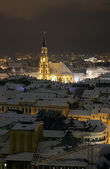 Night city view with St. Michael's Cathedral in Cluj — Stock Photo
