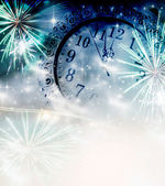 Vintage photo of old clock with stars and snowflakes — Stock Photo