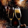 New Year's with champagne glasses — Stock Photo
