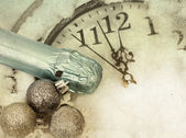 Old vintage clock and holiday decorations — Stock Photo