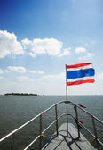 Thailand flag on stern of boat — Stock Photo