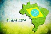 Bandiera e mappa del brasile — Foto Stock