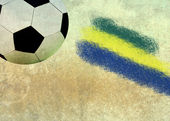 Brazil flag and soccer ball — 图库照片