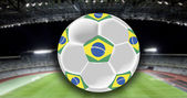 Ball, stadium and Brazil flag — 图库照片