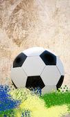 Brazil flag and soccer ball — Foto Stock