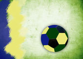 Ball and colors of Brazil flag — Stockfoto