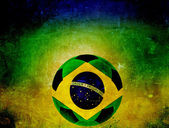 Brazil flag on soccer ball — 图库照片