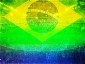 Brazil flag and soccer ball — Stok fotoğraf