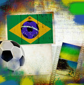 Soccer ball and Brazil flag — 图库照片