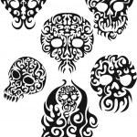 Tribal skull tattoos vector set — Stock Vector