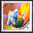 Post Stamp Space Ship Around Phobos, Martian Moon — Stock Photo #7896948