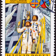 Stamp Waving Astronauts Launch Tower Space Suit — Stock Photo #7896961