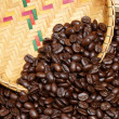 Stock Photo: Coffee beans and basketry background.
