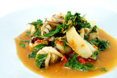 Fried Squid with Basil. — Stock Photo