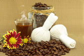 Spa coffee and coffee beans roasted. — Stock Photo