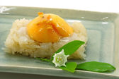 Thai dessert, Mango with sticky rice and Bread Flower. — Stock Photo