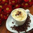 Espresso con panna coffee and Red chrysanthemum flower — Stock Photo