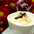 Stock Photo: Espresso con panncoffee and Red chrysanthemum flower