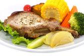 Pork steak and vegetables. — Stock Photo