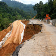 Side of the broken asphalt road collapsed and fallen, since the — Foto de Stock
