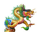 Colorful dragon statue on white in Chinese Shrine. — Photo