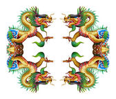 Colorful dragon statue on white in Chinese Shrine. — Stockfoto