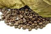 Roasted coffee beans and leaves dry — Stock Photo