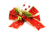 Decorative red bow golden days of Christmas. — Stock Photo