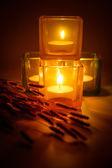 Kaarsen en bloem — Stockfoto