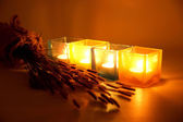 Candles and flower — Stock Photo