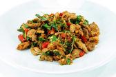 Basil fried pork. Thai food. — Stock Photo