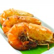Large sweet shrimp on isolate white background. — Stock Photo