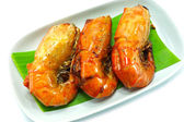 Large sweet shrimp on isolate white background. — Foto Stock